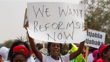 A protester holds a placard as Zimbabwe opposition supporters march through the streets of Zimbabwe's Bulawayo to demand electoral reforms, back on September 17, 2016. (AFP)