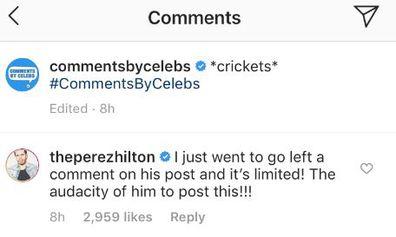 Perez Hilton slams Tristan Thompson comment