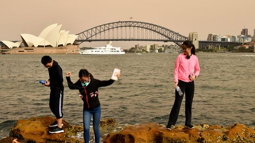 Tourists play by the harbour under beige skies.