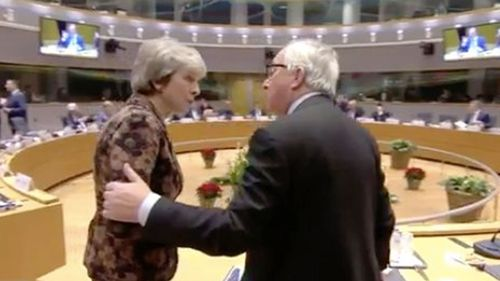 UK Prime Minister Theresa May and European Commission President Jean-Claude Juncker.