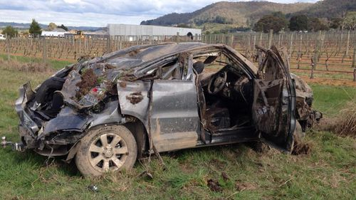 Cooper Ratten was in this car when it rolled in Yarra Glen. (9NEWS)