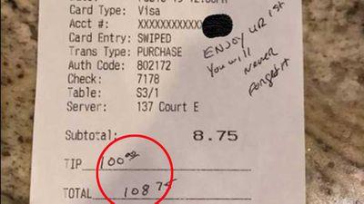 Police officer leaves $100 tip