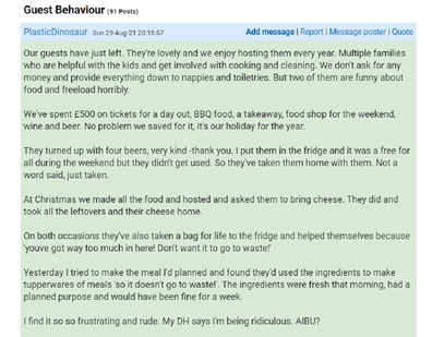 The woman has explained her guest's behaviour on Mumsnet.