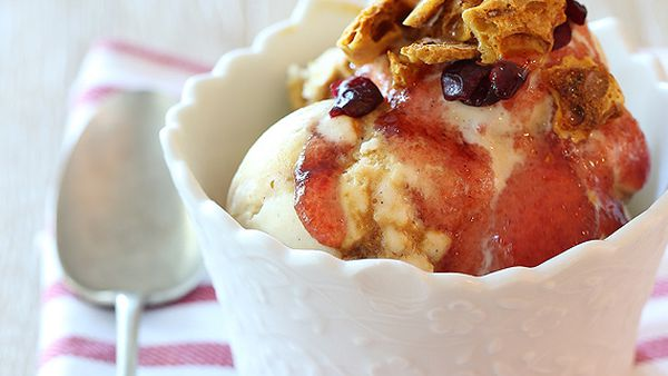 Cranberry caramel hokey pokey ice-cream