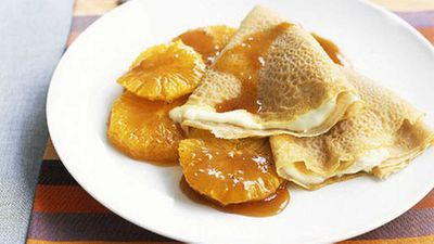 """Recipe:&nbsp;<a href=""""http://kitchen.nine.com.au/2016/05/19/19/27/crepes-with-honeyed-oranges"""" target=""""_top"""">Crepes with honeyed oranges</a>"""