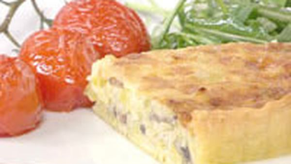 Caramelised Leek & Gruyere Tart With Roasted Truss Tomatoes