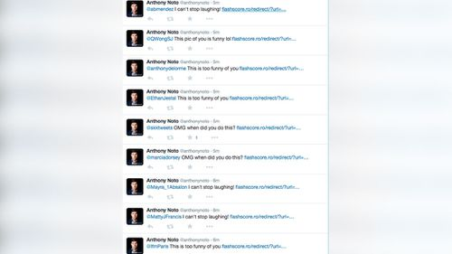 The spam messages posted on Anthony Noto's account. (Twitter)