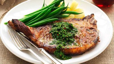 <strong>Chimichurri salsa with t-bone steak</strong>