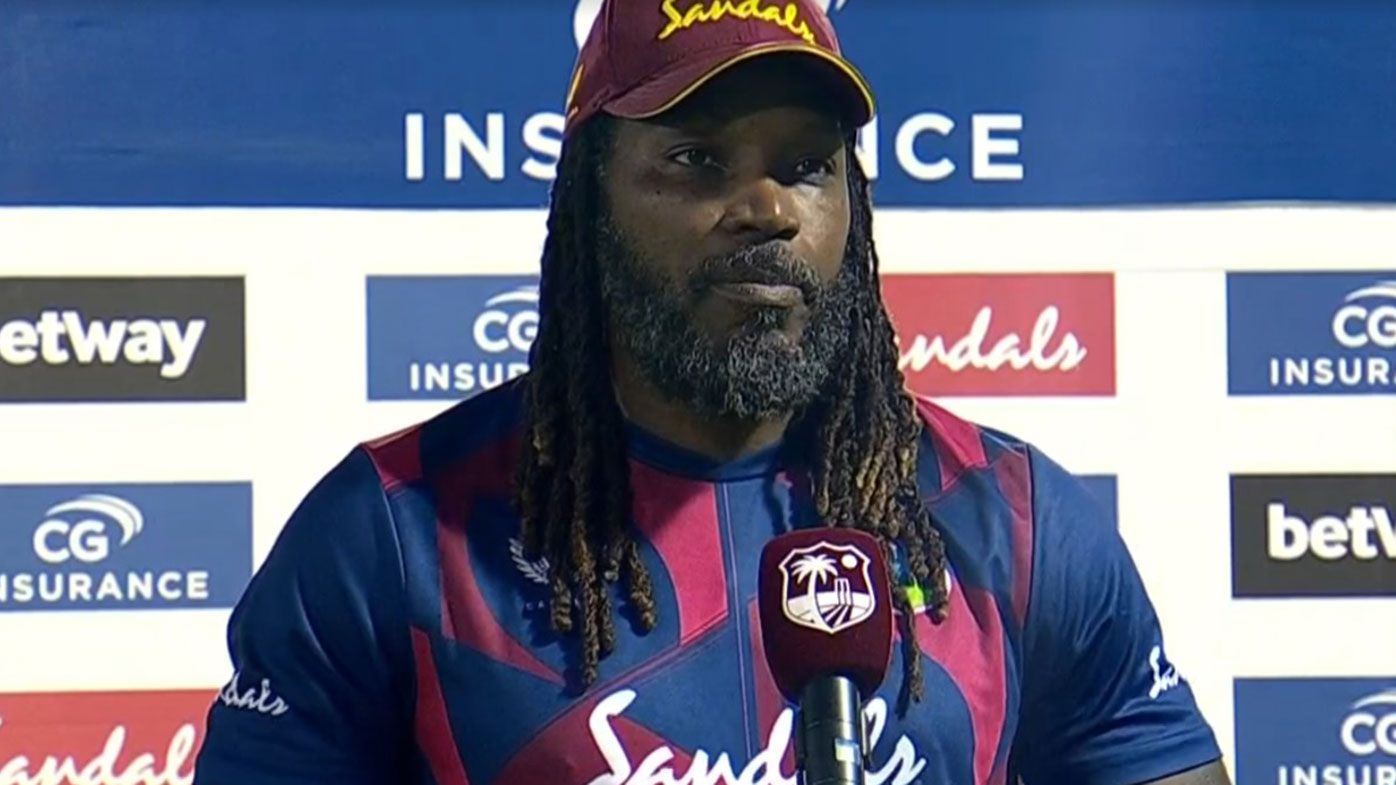 Chris Gayle after his man of the match performance in game three of the T20 series against Australia.