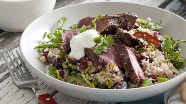Hayden Quinn's Persian lamb with pomegranate, pistachio and orange couscous
