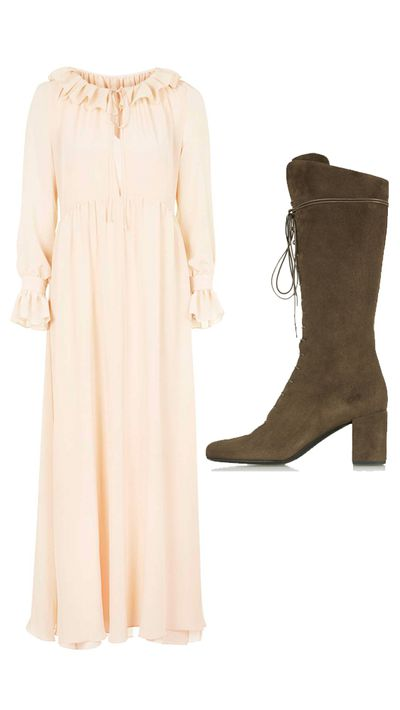 "<p>Dress: <a href=""http://www.topshop.com/webapp/wcs/stores/servlet/ProductDisplay?searchTerm=summer+of+love&storeId=12556&productId=19931965&urlRequestType=Base&categoryId=&langId=-1&productIdentifier=product&catalogId=33057"" target=""_blank"">Summer Of Love Maxi Dress, approx. $135, Topshop</a></p><p>Boots: <a href=""http://www.net-a-porter.com/au/en/product/512417"" target=""_blank"">Lace-Up Suede Knee Boots, $1,657, Saint Laurent</a></p>"