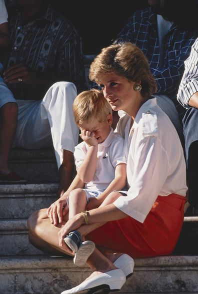 Princess Diana with Prince Harry in Spain in 1988.