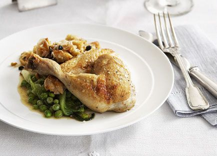 Roast chicken, bread salad, braised lettuce and peas