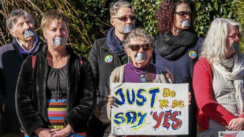 Marriage Equality supporters protesting outside the Tasmanian Liberal Party State Council, attended by then-Australian PM Malcolm Turnbull in Launceston, Tasmania, Saturday, August 19, 2017.