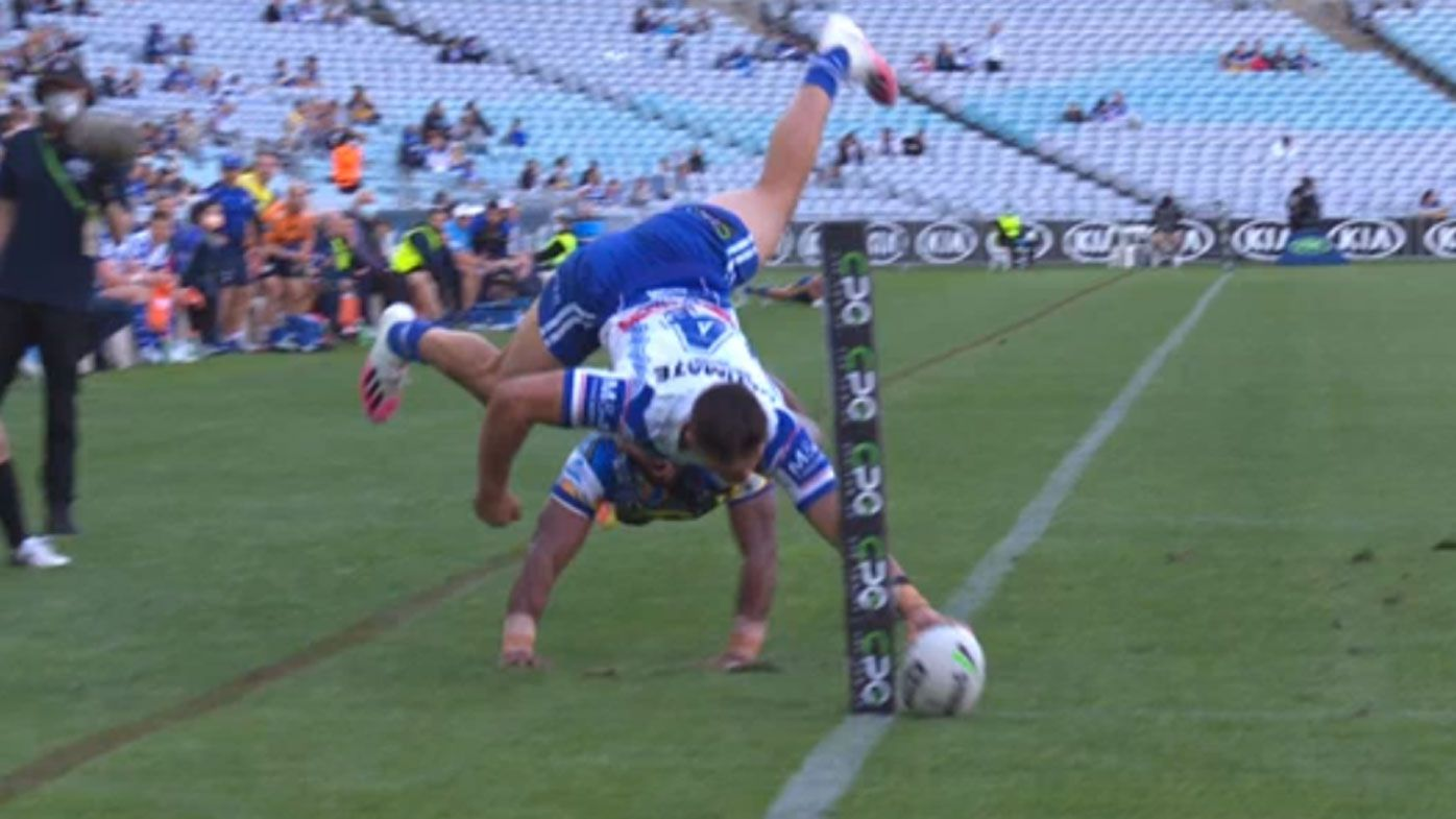 Jake Averillo scores miraculous try for Canterbury Bulldogs in narrow loss to Parramatta Eels