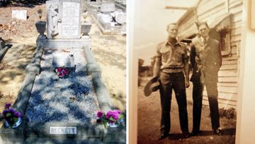 The Beckett family grave (left), and Linda Chapman's Uncle Robert, during his service with the RAAF in WW2.
