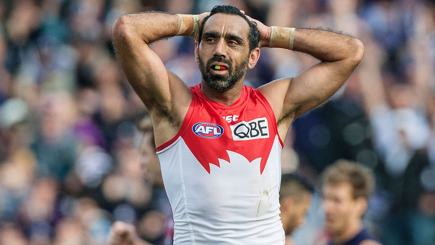 Adam Goodes won two AFL Premierships with the Sydney Swans