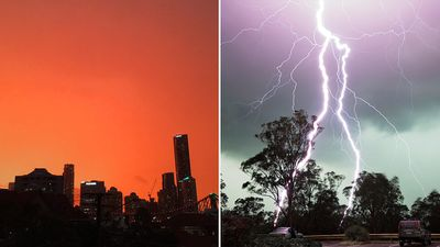<p>A series of supercell thunderstorms have dazzled South East Queensland residents with furious lightning shows and fiery sunsets.(Twitter/@VinceRugari/Andre Brown)</p> <p><strong>Click through to see more photos of the phenomena.</strong></p>