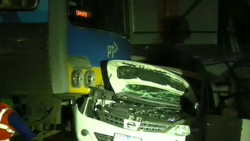 Man lucky to be alive after car collides with train