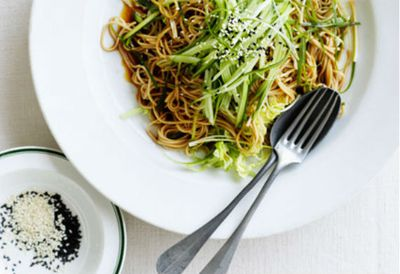 Soba noodles with Chinese cabbage and young ginger