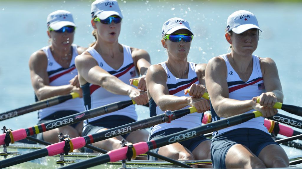 US Natalie Dell, Kara Kohler, Megan Kalmoe and Adrienne Martelli compete in the women's quadruple sculls repechages 1 of the rowing event during the London 2012 Olympic Games. (AFP)