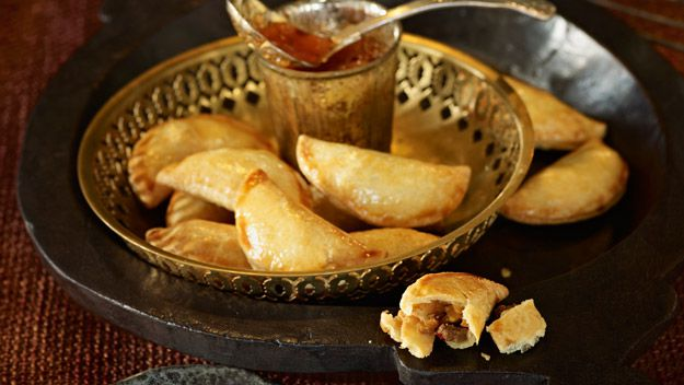 Beef samosas with peach and raisin chutney