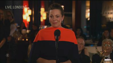 Olivia Coleman accepting her 2021 Emmy.
