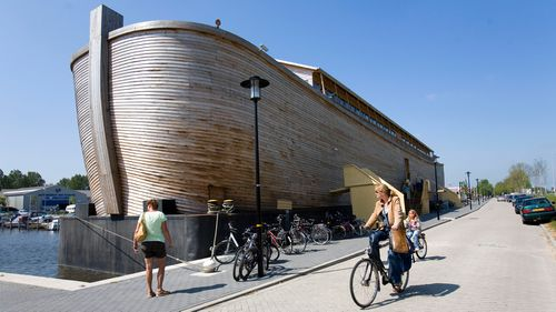 The replica of the biblical Noah's Arc in Schagen, Netherlands, before it was towed to the UK.