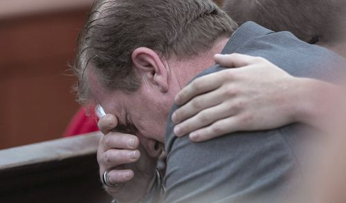 Timothy Jones Sr. weeps as his son is sentenced to death for the killing of his 5 young children in 2014.  (Tracy Glantz/The State via AP, Pool)