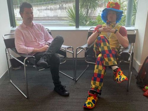 Joshua Jack brought a clown to his redundancy meeting.