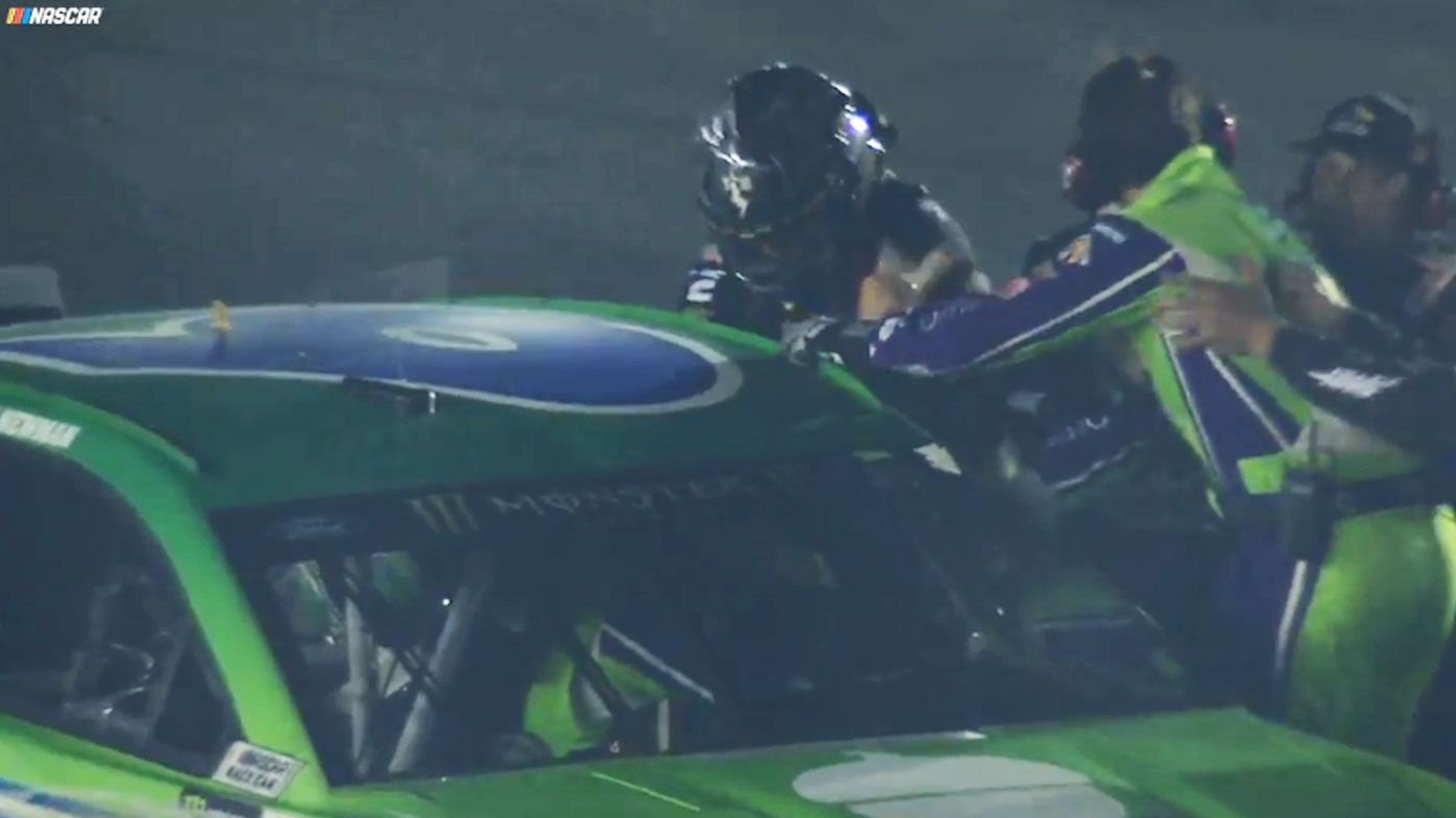 Ryan Newman and Clint Bowyer punch fight, Fists fly on track as