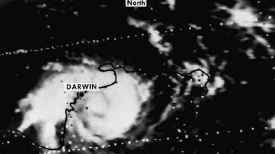 This photo of the cyclone was made by the NOAA 4 Satellite as it passed over Darwin on Christmas Day. The cyclone killed 44 people. (AAP)