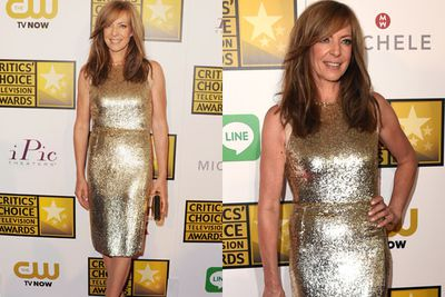 Gold is the new black! Allison Janney embraces the trend, in this super-sequinned number.