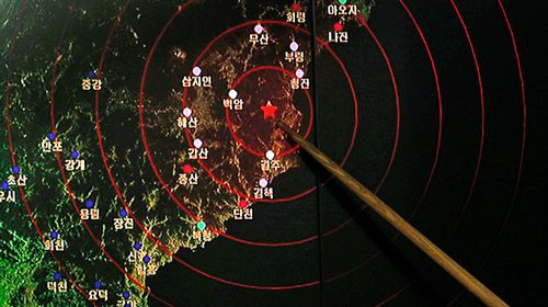 A screen at South Korea's Meteorological Administration showing seismic activity from North Korea's nuclear test site at Punggye-ri. (Photo: AP).