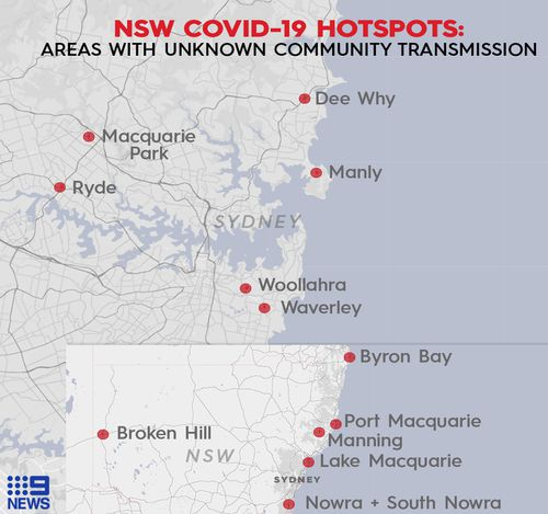 The 13 locations NSW Health pinpointed as areas where community transmission of coronavirus was worrying.