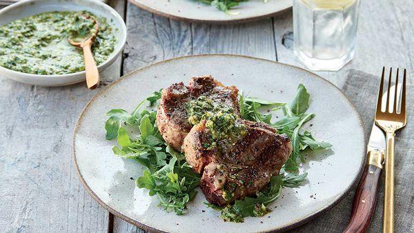 Weber's Lamb loin chops with lemon-mint salsa verde