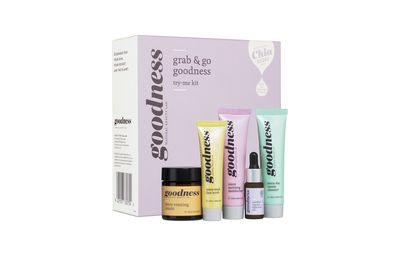 "<a href=""http://www.goodnessproducts.com/shop/products/grab+%26+go+goodness+try-me+kit%3Fsku=01388.html"" target=""_blank"">Goodness</a> Grab &amp; Go Try-Me Kit, $24.95."