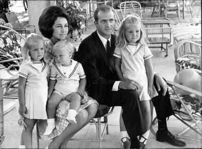 Juan Carlos and Sofia before they were king and queen with their children Elena, Sofia and Felipe in 1969.