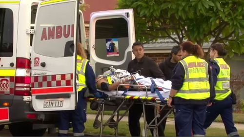 He was taken to Liverpool Hospital with a leg injury. (9NEWS)