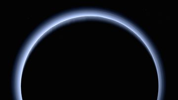 Pluto's blue haze was captured by the New Horizons spacecraft on  July 14, 2015.  (NASA/Johns Hopkins University Applied Physics Laboratory/Southwest Research Institute)