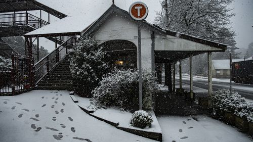 Snow falls in Blackheath in the NSW Blue Mountains.