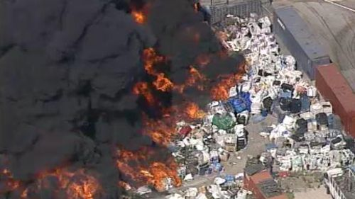 The out-of-control blaze at a waste management facility in Lansvale. (9NEWS)