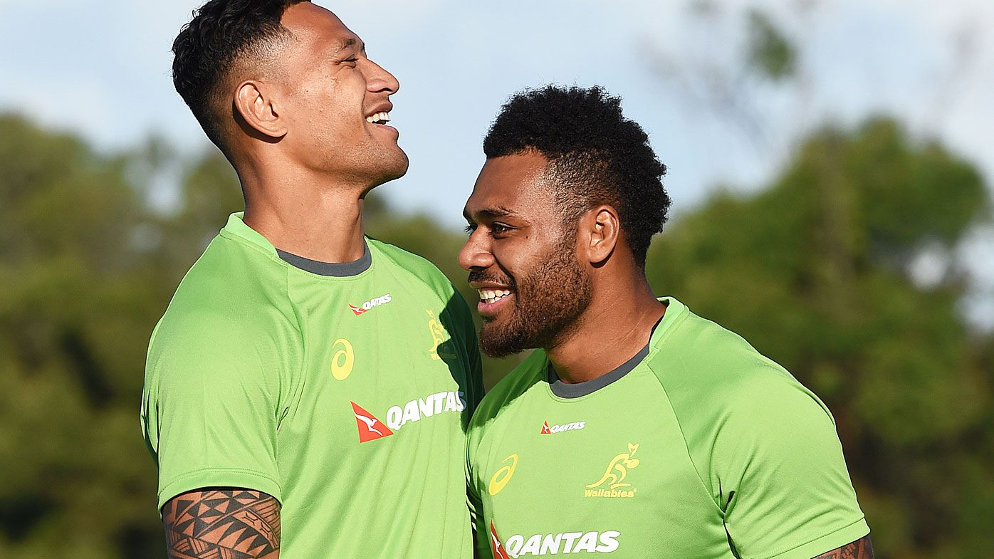 Folau and Kerevi in Wallabies camp in 2016