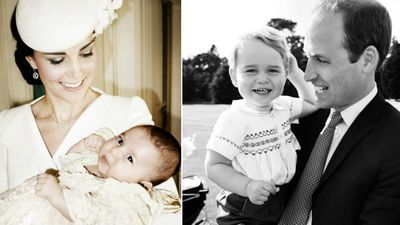 Duchess Kate with Charlotte and Prince William with George. (Mario Testino /Art Partner, AAP)