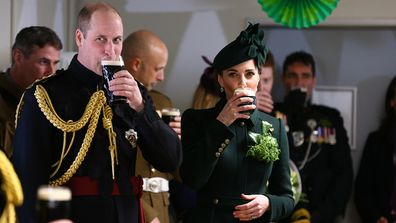 Duchess of Cambridge and Prince William drinking Guinness on St Patrick's Day.