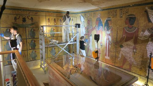 The tomb remained open during the conservation and tourists were able to view the work and ask the researchers questions. Picture: Courtesy of J Paul Getty Trust