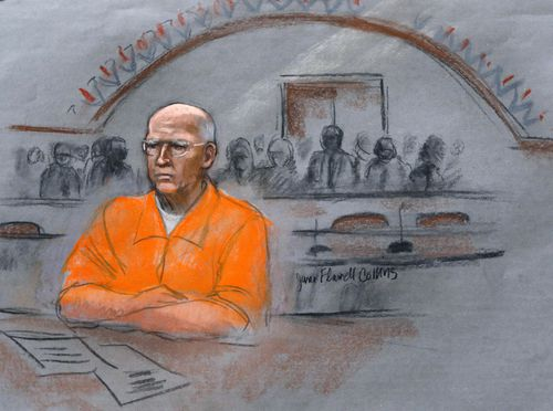 In a court sketch from 2013, 'Whitey' Bulger is sentenced to life in prison for 11 underworld slayings.