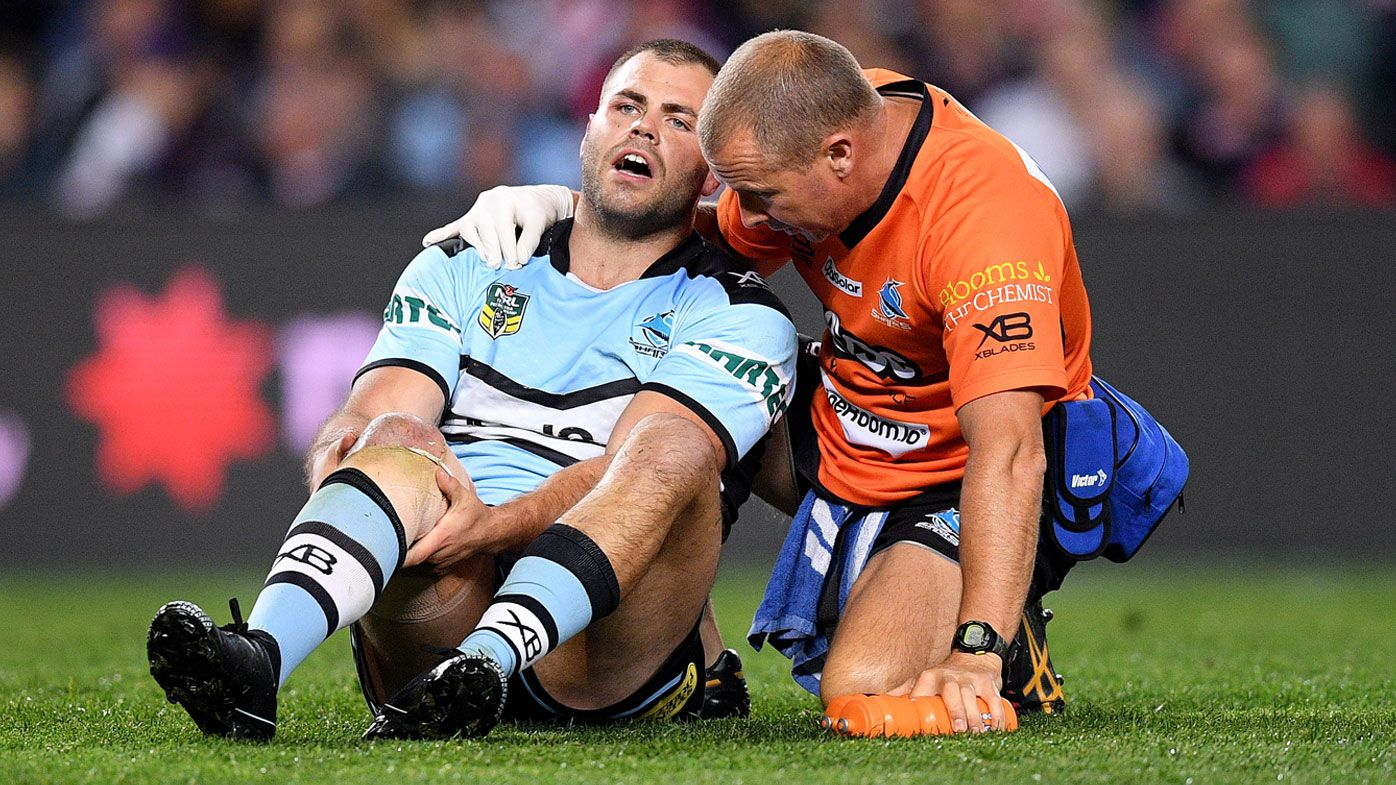 NRL: Cronulla Sharks' Wade Graham hobbles from field with suspected ACL injury