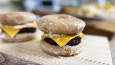 Doughnut burgers are fun for Father's Day