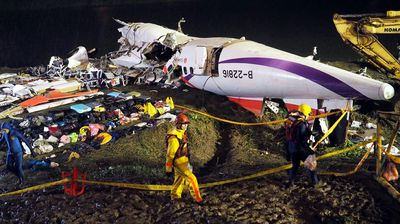 <p>The front part, where 17 people are believed to be trapped, is still in the water.</p>  <p>TransAsia said 16 survivors had been pulled out of the wreckage after the turboprop plane crashed with 58 people onboard. Many of the passengers were mainland Chinese tourists.</p>
